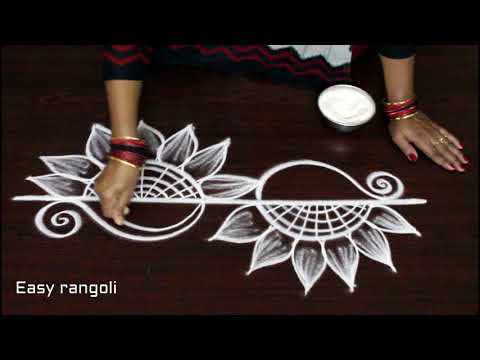 latest side/border rangoli designs * simple kolam with out dots * how to draw easy muggulu