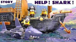 Funny Pirate Minions rescued by Paw Patrol   Mega Bloks Minions Shark Bait Treasure Set