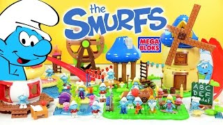 The Smurfs Village w/ Smurfette Baker Smurf Brainy Handy Hefty & Grandpa Smurf Mega Bloks