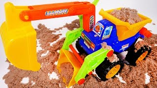 Excavator Dump Truck and Wheel Loader in one Playing in Kinetic Sand