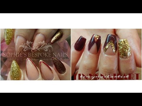 Acrylic Nails Nude, Gold & Burgundy Collab With Sophie's Bespoke Nails