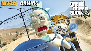 GTA 5 MODS :  RICK & MORTY - HMS VICTORY - HOVER BIKE  ( Funny Moments)