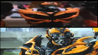 Transformers Age of Extinction Galvatron Chase Scene Stop Motion Side by Side Comparison