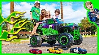 Ride On Grave Digger Monster Truck Vs RC Police Car and Race Car - Ride on Trucks for Kids