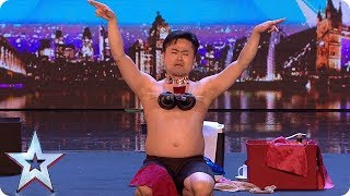 Mr Uekusa gives us a strip show with a twist!   Auditions Week 1   Britain's Got Talent 2018