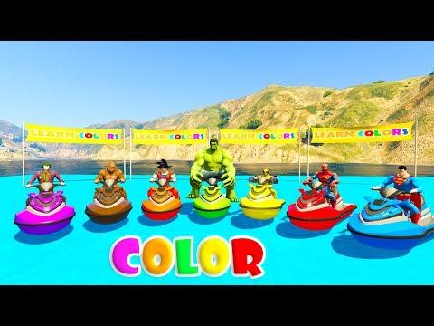 LEARN COLORS JETSKI and MOUNTAIN BIKE 3D Cartoon for kids and babies