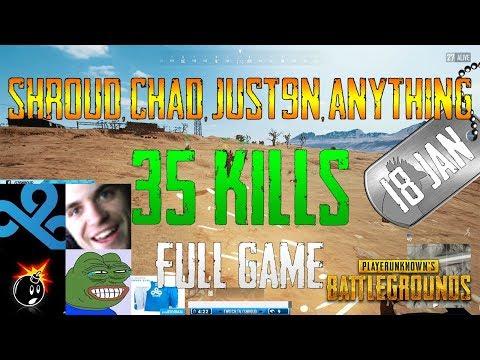 Shroud, Chad, Just9n, anythiNG | 35 Kills | PUBG