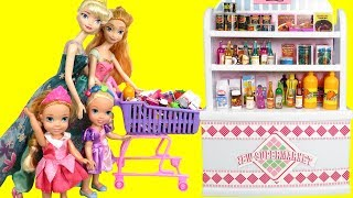 Mall SHOPPING ! Elsa and Anna toddlers at the Food Court - Beauty supplies - furniture- grocery