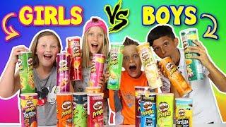 GIRLS vs BOYS Pringles Challenge!!!