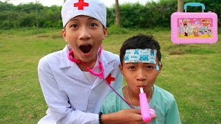 Kids Play Pretend Doctor Take Care Brother! Kids Play Football Outdoor Playground Song Children