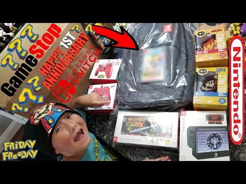A HUGE NINTENDO MYSTERY BOX FROM GAMESTOP! NINTENDO SWITCH 1 YEAR ANNIVERSARY! GAMESTOP CHALLENGE!