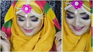 Bangladeshi Bridal Haldi Makeup Tutorial - Semi cut crease/smokey eyes- ft smiley sayeeba