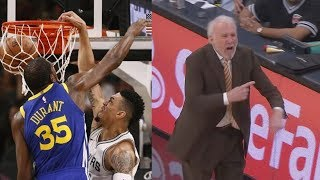 Danny Green Dunks on Kevin Durant! Gregg Popovich Ejected! Warriors vs Spurs 2017-18 Season