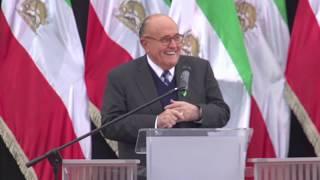 Mayor Rudy Giuliani speaks at Iranian opposition rally in Warsaw