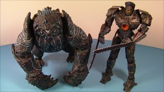 NECA PACIFIC RIM 2 PACK BATTLE DAMAGED GIPSY DANGER vs LEATHERBACK ACTION FIGURES MOVIE TOY REVIEW