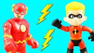 Incredibles 2 Dash & Imaginext Flash Speedsters Race To The Rescue Part 2 + Elastigirl & Jack Jack