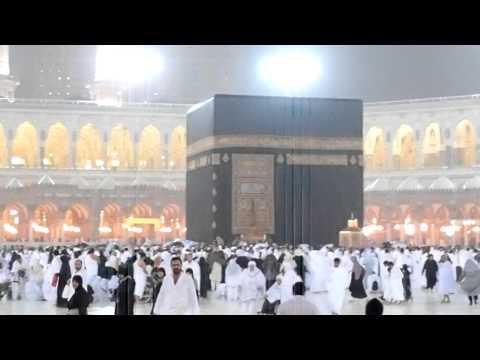 Rain in Masjid al Haram Makkah Kaaba 16th March 2011