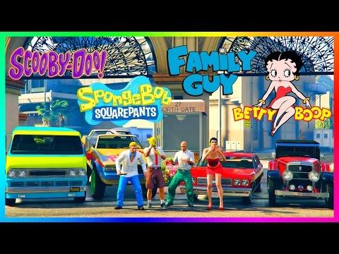 GTA ONLINE ANIMATED CARTOONS SPECIAL - FAMILY GUY VS THE SIMPSONS, SOUTH PARK, SPONGEBOB & MORE!!