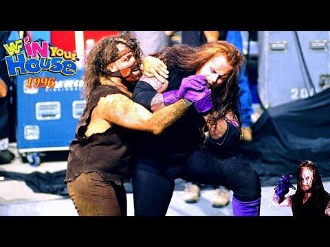 اندرتيكر ضد مان كاين مباراة الدفن حيآ في القبر اقوى واخر مباراه في الفتره البنفسجية 1996 HD