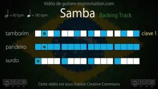 Samba Playback (90 bpm) : Surdo + Pandeiro + Tamborim (clave 1)
