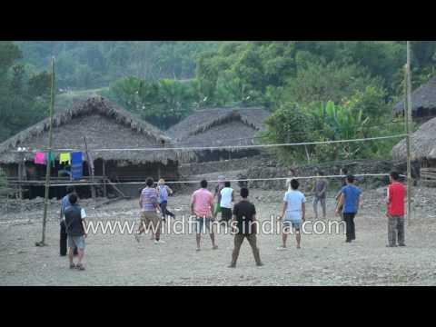 Village boys play Volleyball in Oyan, Arunachal