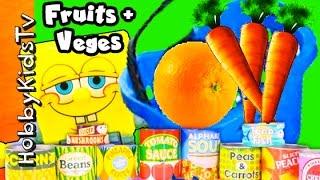 SURPRISE Shopping! Canned Food Secret Word + Spongebob Goes Shopping HobbyKidsTV