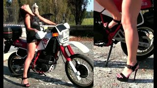 Miss Iris playing with the Aprilia 350 ETX | Trailer Pedal Pumping