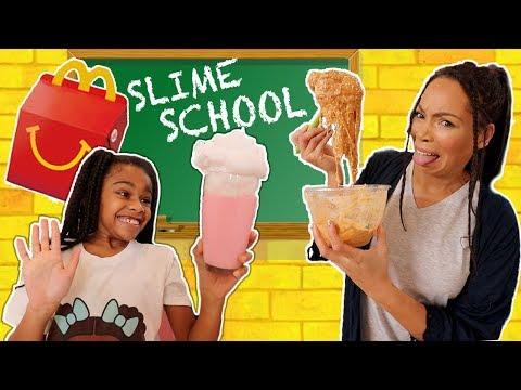 Slime School McDonald s Test Fail Sneak Food in Class New Toy School
