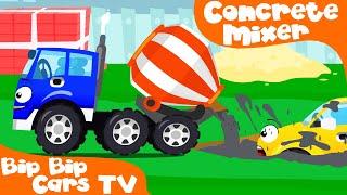 Cement Mixer Truck Excavator Dump Truck in the City | Bip Bip Cars New Cartoon for Kids