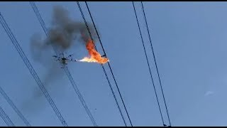 Fire-spitting Drone Cleared up Plastic Film on Power Transmission Line