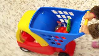 Kids doing Shopping  - TOY Supermarket Cart / kids song