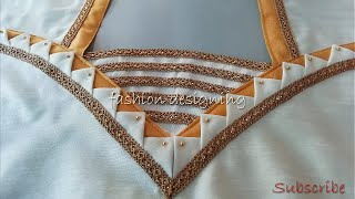 stitching of a beautiful and easy back neck design of a blouse | fashion designing