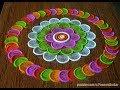 Rangoli using just a bottle cap   Beautiful multicolored rangoli   Easy rangoli by Poonam Borkar