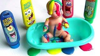 Aprenda Cores com Bob Esponja Tintas de Banho ToysBR | Learn Colors SpongeBob Bath Paint