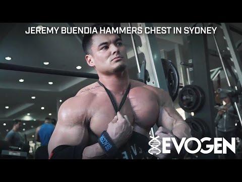 Jeremy Buendia Hammers Chest in Sydney Australia