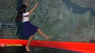 سقطة مفاجئة لمذيعة أخبار الطقس لقناة العربية وسط البث المباشر
