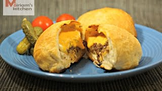 Stuffed Cheese burgers using ready made biscuit dough ... همبرجر بالجبنة محشي