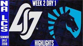 CLG vs TL HIGHLIGHTS | NA LCS Summer 2018 Week 2 Day 1 | CLG vs Team Liquid Highlights