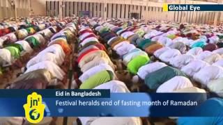 Global Eye: Thousands of Bangladeshi Muslims descend on Baitul Mukarram mosque for Eid prayers
