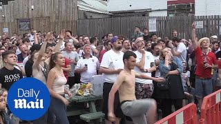 England fans react to Croatia goal and match heads into extra time