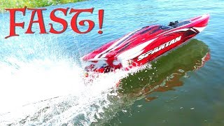 "RC ADVENTURES - TOP SPEED RUNS w/ 6S Lipo  Traxxas Spartan 36"" Race Boat Wipeout!"