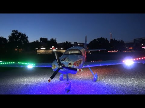 Nightflight RC Airplane Cessna Corvalis 350 Zürich Wildflying Area RCHELIJET on the rudder