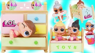 LOL Surprise Dolls Dress Up in School for Lil Sisters Rainbow Nursery - Toy Mystery Blind Bag Video
