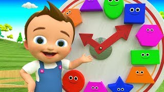 Colors & Shapes for Children to Learn with Little Baby Fun Play Clock Toy Shapes 3D Kids Educational