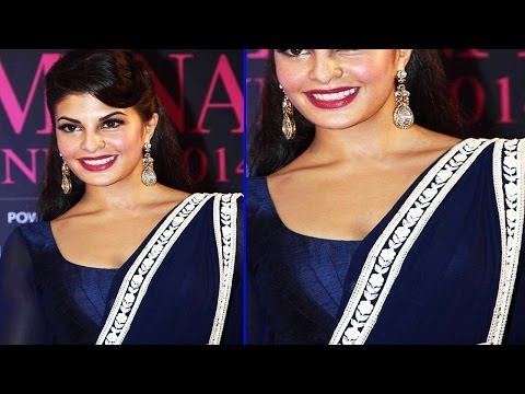 Hot Jacqueline Fernandez In Blue Saree & Tight Blouse