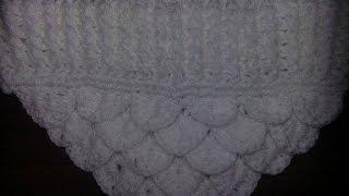 Crochê - Gola em Ponto Escamas (Ponto Crocodilo) com Mollet