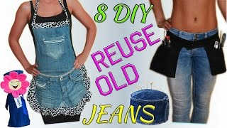 8 Creative DIY Ways HOW TO REUSE / RECYCLE OLD JEANS