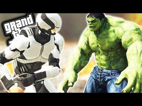 ROBOCOP VS HULK GTA 5 Mods Funny Moments