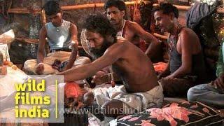 Aghori performing black magic at Chandi Ghat, Haridwar