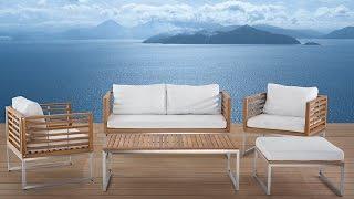 Beliani Stainless steel Garden Furniture - Table - Sofa - 2 Chairs - Ottoman - BERMUDA - Eng